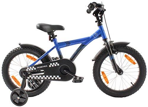 PROMETHEUS Kinderfahrrad 16 Zoll Jungen Kinderrad in Farbe Blau & Schwarz mit Stützrädern   Seitenzugbremse und Rücktrittbremse   ab 5 Jahren   16