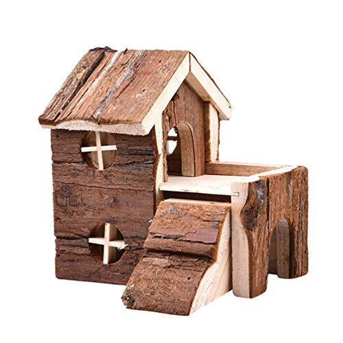 Balacoo Hamsterhaus Nagerhaus mit Brücke Meerschweinchenhaus Kleintierhaus Holz Spielhaus Meerschweinchen Villa Holzhaus für Kaninchen Ratten Hase Kleintier Mäuse Eichhörnchen Spielzeug