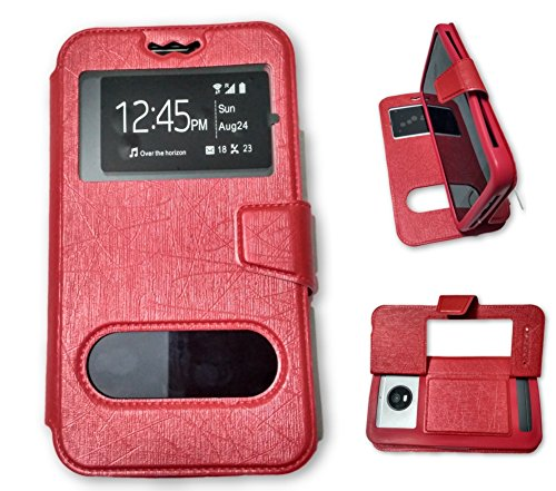 BKDT Marketing Leather finish Flip Cover Case Stand Diary Style for Samsung Galaxy S4 I9295 Active with Dislay Window and Stand - Red  available at amazon for Rs.449