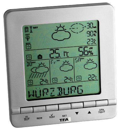 TFA Dostmann Meteotime Star Wetter Info Center, Profi-Wettervorhersage, kritische Wettersituationen, Regenwahrscheinlichkeit, Windstärke