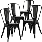 Nufurn Tolix Style Bistro Stackable Dining Chair,Matte Black ( Set of 4 )