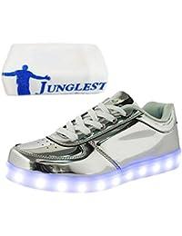 [Presente:pequeña toalla]Negro - negro EU 37, deporte pantalones JUNGLEST® la pareja plano Unisex de LED zapatos de luminosa LED zapatillas de de manga manera haces mujer carga para de