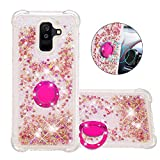 FAWUMAN Liquid Sparkly Quicksand TPU Gel Silicone Shockproof Phone Cover[Diamond Ring] Cases for Samsung Galaxy A9 Star Lite (Rose gold love)