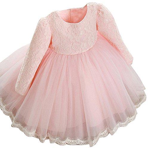 dung Honestyi Kinder Baby Mädchen Lange Hülsen Prinzessin Spitze Blumen Festzug Hochzeitsfest Kleider (Roas,130) ()