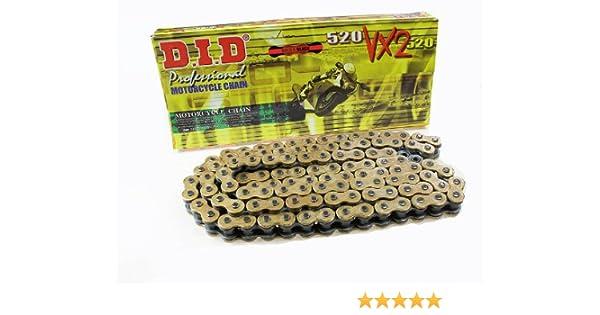X-Ring gold DID Kette 520 VX2 offen mit Nietschloss 110 Glieder