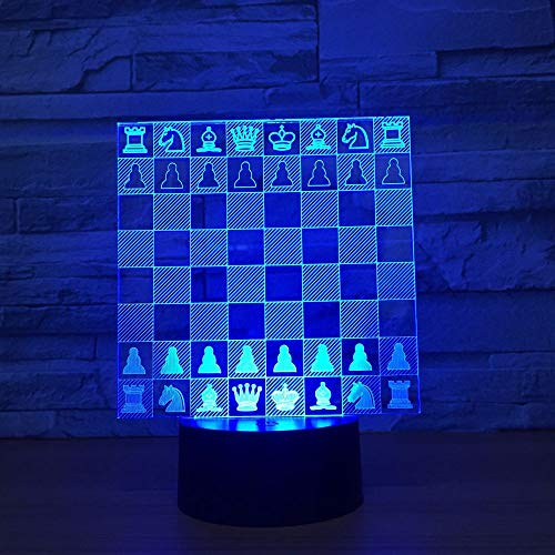 Mddjj Chess Board 3D Lamp 7 Color Changing Led Night Light For Kids Touch Led Usb Table Lampara Lampe Baby Sleeping Lighting Kis Gift Schlafzimmerdekoration