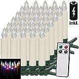 30 LED Weihnachtsbaumkerzen Kabellos | Inkl. Batterien | Bunt | Fernbedienung & Timerfunktion - Weihnachtskerzen Weihnachtsdekoration Christbaumkerzen