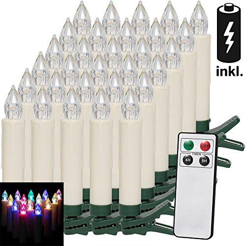 30 LED Weihnachtsbaumkerzen Kabellos I Inkl. Batterien I Bunt I Fernbedienung I Timerfunktion I Flackern I Dimmbar I Weihnachtskerzen