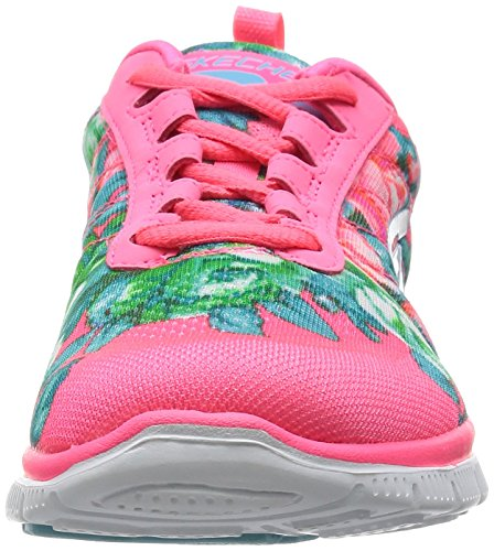 Skechers Flex Appeal Wildflowers, Baskets Basses Femme Rose (Rose Foncé)