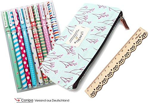 Katara Stiftemappe, hell blau/rosa + Schreibset (Gelschreiber verschiedene Farben 10er Set) +...