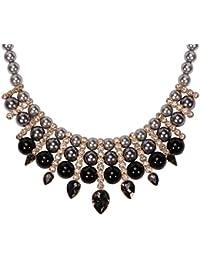 Mujer Elegante Perla de Imitación Diamante de Imitación Metal Base Multi-Row Collar