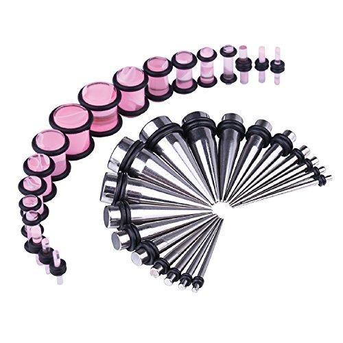 BodyJ4You Women's 36pcs Messgeräte-Kit Edelstahl verjüngt sich rosa Marmor Art Stecker 14g-00g Ohr Stretching Set (Verjüngt Und Ohr Messgeräte)