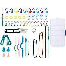 Anpro 63 PCS Tricot Kit à Tricot Outils Boîte de Kit d'accessoire Outils 2PCS Crochets de Tricot