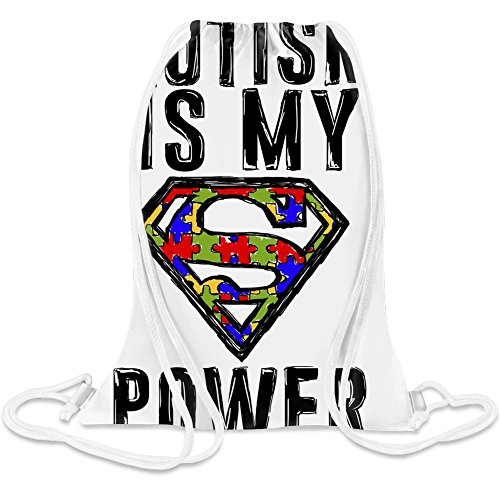 Autismus ist meine Supermacht - Autism Is My Super Power Custom Printed Drawstring Sack - 5 l - 100% Soft Polyester - A Stylish Bag For Everyday Activities - Custom Bags