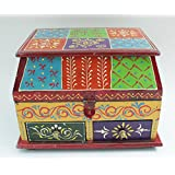 Crafticia Wooden Hand Painted Storage Jewellery Chest Or Box Decorative Handicraft Gift Item Home Decor Rajasthani Showpiece
