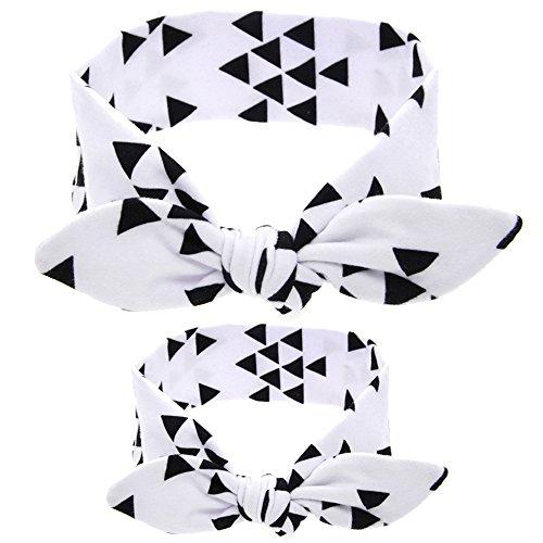 Vertvie 2 Stück Mutter und Baby Haarband Stirnband Set Haarreifen Elastisch Kopfband Mit Schleife(One size, Weiß) (Kit Kopfband)