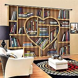 Rideaux d'isolation solides - Bibliothèque d'amour -rideaux à motifs 3D, - Rideaux pare-soleil - Réduction du bruit - Adapté au salon,Chambre à coucher, bureau, enfant,100% polyester 150 x 166 cm