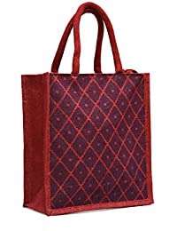 Maroon Jute With Diamond Dot Printed With Rope Handle Jute Burlap Lunch Tiffin Outdoor Handbag Bag Working Office...