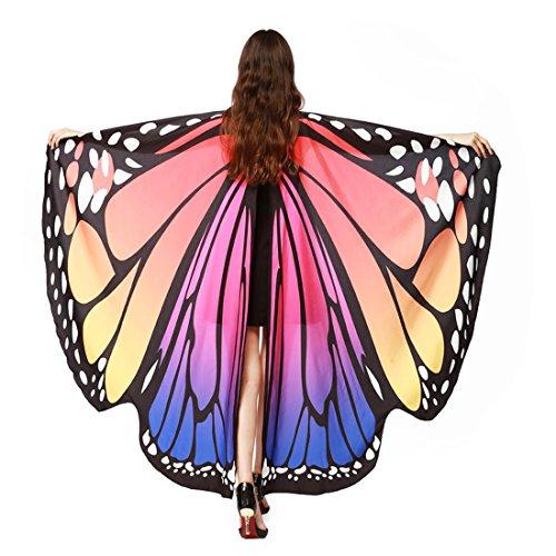FEITONG Frauen Schmetterling Flügel Schal Schals Nymphe Pixie Poncho Kostüm Zubehör (168*135CM, Heißes Rosa)