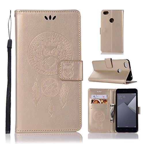 sinogoods para Xiaomi Redmi Note 5A Funda, Cuero De La PU Magnético Capirotazo Billetera Apoyo Bumper Protector Cover Funda Carcasa Case - Dorado
