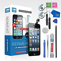 Mmobiel Lcd Display Touch Screen For Iphone 5 (Black) Front Glass Digitizer Assembly Professional Repair Kit With Toolkit + Tempered Glass + Easy Manual