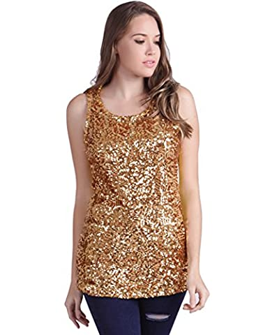 HDE Women's Shiny Sequin Tank Top Embellished Sparkly Sleeveless Party Shirt (Gold, Medium)