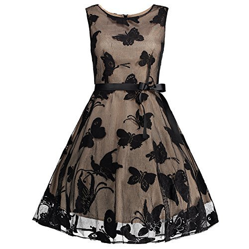 50s Größe Kleid Plus (iShine Übergröße Kleid Damen Knielang Retro 50s Vintage Rockabilly Kleid Ärmellos Faltenrock Partykleid Cocktailkleid-AT/Plus)