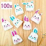 JZK 100 Sacchettini orecchie coniglio bustine porta confetti spuntini caramelle biscotti sacchetti bomboniere confettata per festa bambini compleanno pasqua Halloween