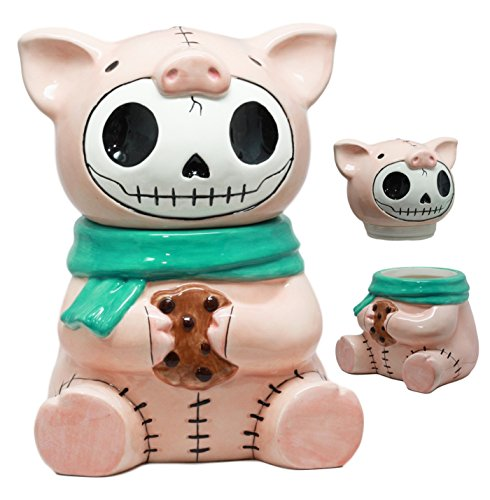 Furry Bones Bacon Ceramic Cookie Jar Collectible Kitchen Hosting Dining Accessory Cute Porky Pig Skeleton Figurine by Gifts & Decors Pig Cookie Jar
