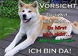 INDIGOS UG - Türschild FunSchild - SE66 DIN A4 ACHTUNG Hund AKITA INU - für Käfig, Zwinger, Haustier, Tür, Tier, Aquarium - aus hochwertigem Alu-Dibond beschriftet sehr stabil