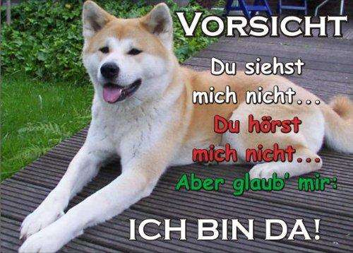 INDIGOS UG - Türschild FunSchild - SE66 DIN A5 ACHTUNG Hund AKITA INU - für Käfig, Zwinger, Haustier, Tür, Tier, Aquarium - aus hochwertigem Alu-Dibond beschriftet sehr stabil