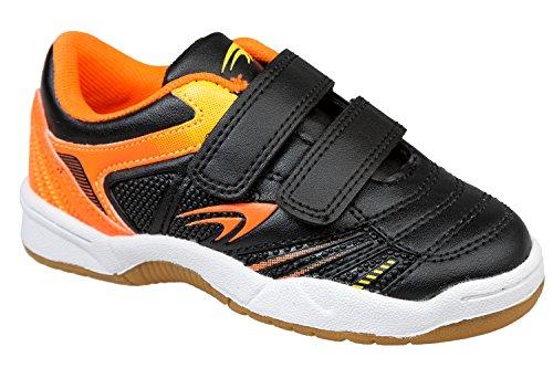 GIBRA® Enfants Chaussures de sport pour la salle de gym, avec fermeture velcro, noir/orange, Taille 25–36 Noir - Noir/orange