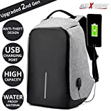 #9: AllExtreme Anti Theft Backpack Waterproof Business Laptop Bag with USB Charging Port for 14 inch Laptop, Notebook, Camera and Mobile (Grey)