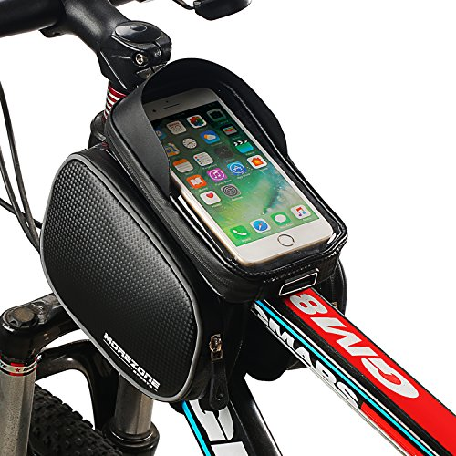 MOREZONE Sacoche de cadre vélo pour Smartphone Guidon vtt Sacoche résistante à l'eau Téléphone sous 5.5 pouces top sac de tube (Noir, 6.0 pouces)