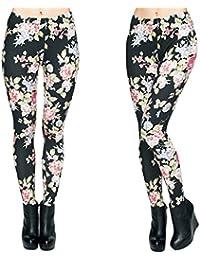 61801c9d6135 Hanessa Frauen Leggins Bedruckte Leggings Hose Frühling Sommer Kleidung  Blumen auf Schwarz L87