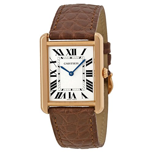 CARTIER WOMEN'S TANK SOLO BROWN LEATHER BAND QUARTZ ANALOG WATCH W5200025