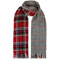 Tamaño grande de doble capa reversible diseño de tela escocesa bufanda Mantón cape ...