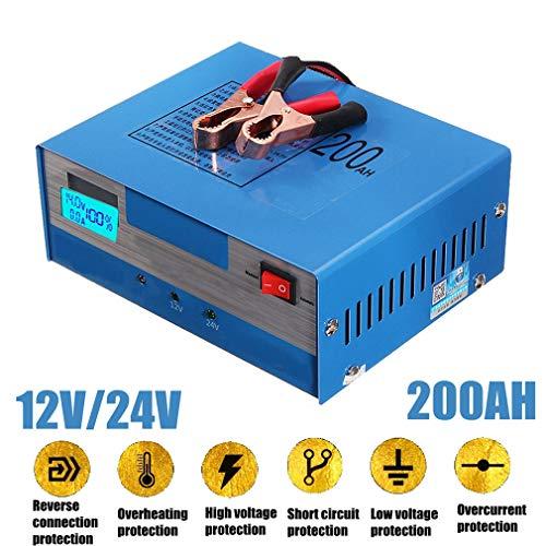 HWUKONG Auto Caricabatteria, Automatatic Battery Repair Il Caricatore, Intelligente degli impulsi Riparazione 130V-250V 200AH 12 / 24V con Adattatore di Alimentazione di Ricarica unità Portat