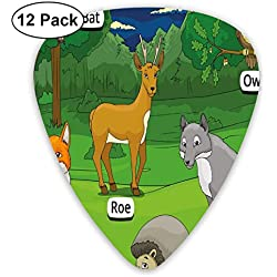 Guitar Picks - Abstract Art Colorful Designs,Forest With Cartoon Animals With Names Educational Intellectual Fun Kids Game,Unique Guitar Gift,For Bass Electric & Acoustic Guitars-12 Pack