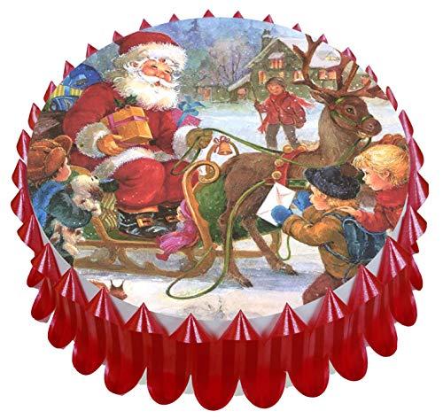 Weihnachtlicher Tortenaufsatz, 18 cm, mit Kuchenband rot -