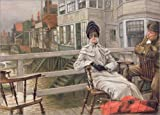 Canvas print 170 x 120 cm: Waiting for the Ferry by James Tissot / Bridgeman Images - ready-to-hang wall picture, stretched on canvas frame, printed image on pure canvas fabric, canvas print