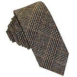 GASSANI Tweed Woll-Krawatte Kariert, Schmale Dünne Flanell Herren-Krawatte Wolle Baumwolle Twill, Dunkel-Braune Hell-Braune Schwarze Karos Rauten