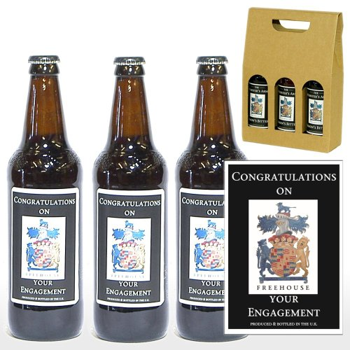 PERSONALISED 'Congratulations On Your Engagement' Ale Gift Box - 3 x 500ml Yorkshire Ales with 'Congratulations On Your Engagement' on the Labels in a Gift Box