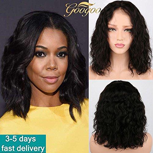 Googoo Perruque Cheveux Humain Naturel Ondule Perruque Bob Court 10 Pouces Perruque Avant en Dentelle Bresilienne Noir 130% Densité Perruque Femme Cheveux Humain avec Bébé Hair