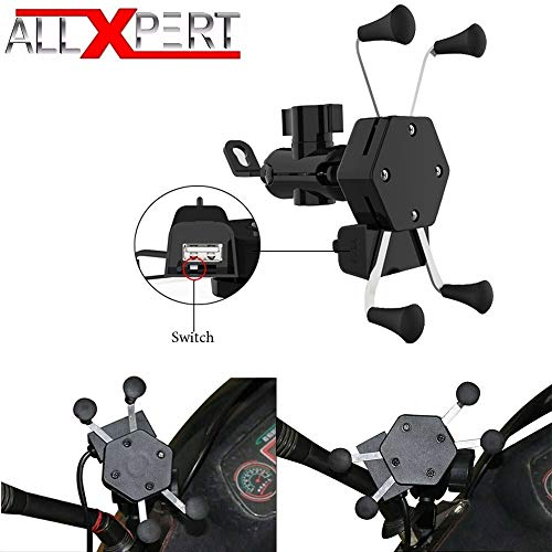 Allxpert AL-12 X-Grip Premium Bike Mobile Charger & Phone Holder Version 2 for All Bikes Scooters (5V-2A Black)