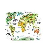WINOMO Weltkarte Wandaufkleber Wandsticker mit Tier für Kinderzimmer Schlafzimmer Deko