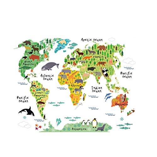 WINOMO Weltkarte Wandaufkleber Wandsticker mit Tier für Kinderzimmer Schlafzimmer Deko (Schauen, Für Wandtattoo Augen)
