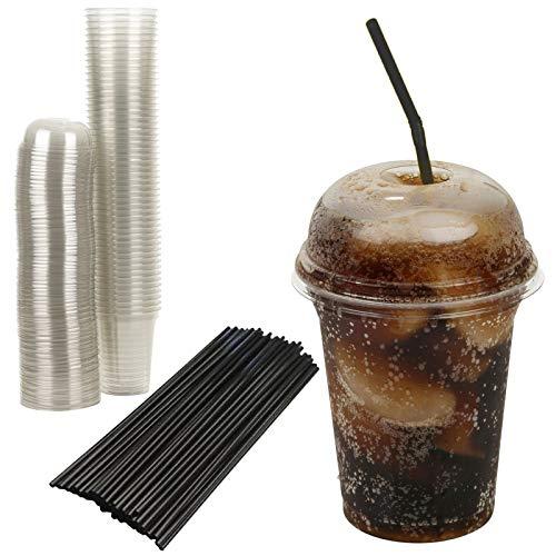 inweg-Milchshake-Becher aus Kunststoff mit Kuppeldeckel und Strohhalmen für Saft, Smoothies, Eiskaffee etc. ()