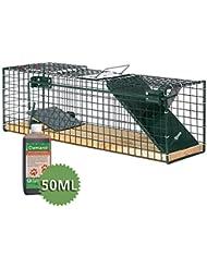 Moorland Trampa animales - Ratas ratones - 55x15x19 cm - 1 Entrada - Safe 6041 - Con Feromona - Alambre y madera