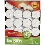 Bolsius – Velas de té, para interiores y exteriores, 4 horas de duración, 16 x 38 mm, 60 unidades), color blanco